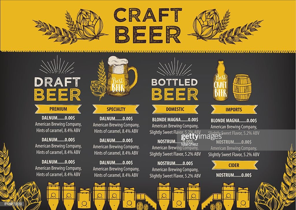 Beer cafe menu, template design.