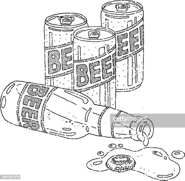 beer cans and bottle doodle - spill stock illustrations, clip art, cartoons, & icons