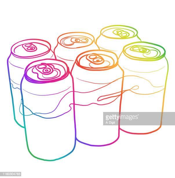 ビール缶レインボー - 6缶パック点のイラスト素材/クリップアート素材/マンガ素材/アイコン素材