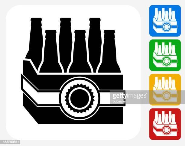 ビールケースグラフィックデザインアイコンフラット - 6缶パック点のイラスト素材/クリップアート素材/マンガ素材/アイコン素材