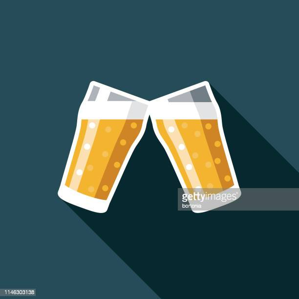 beer cheers flat design icon - lager stock illustrations, clip art, cartoons, & icons