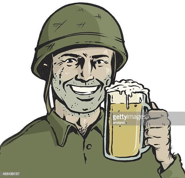 beer commander - army helmet stock illustrations, clip art, cartoons, & icons