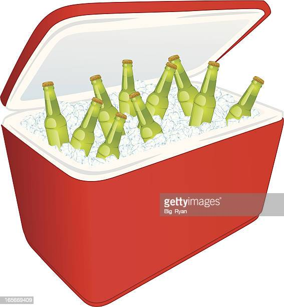 beer cooler - ice bucket stock illustrations, clip art, cartoons, & icons