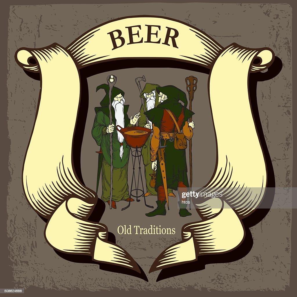 Beer design with tree wizards : Vector Art