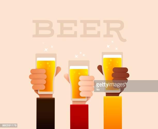 beer drinking raised hands - nostalgia stock illustrations