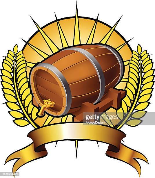 beer emblem - lager stock illustrations, clip art, cartoons, & icons