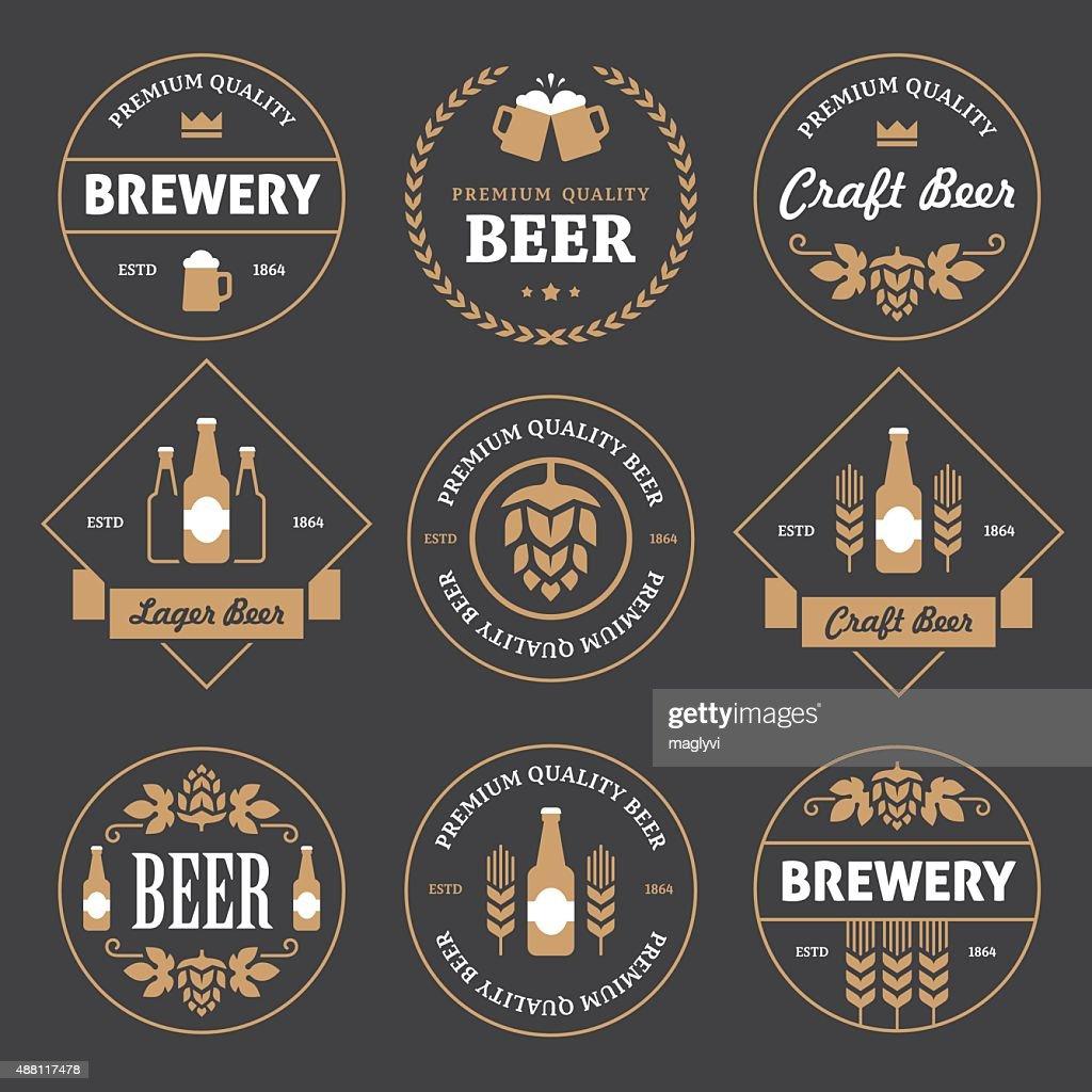 Beer emblems on black background