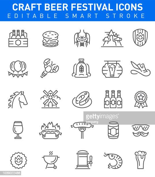 beer festival icons. editable stroke - lager stock illustrations, clip art, cartoons, & icons