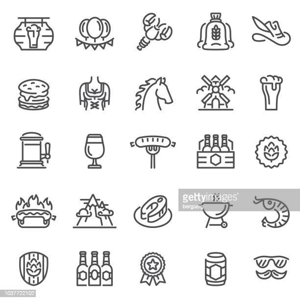 beer festival icons. oktoberfest concept set - artisanal food and drink stock illustrations, clip art, cartoons, & icons