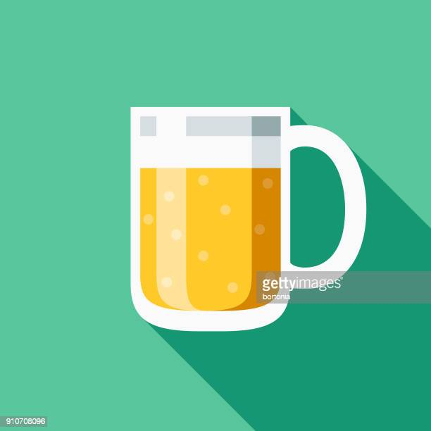 beer flat design bbq icon with side shadow - lager stock illustrations, clip art, cartoons, & icons