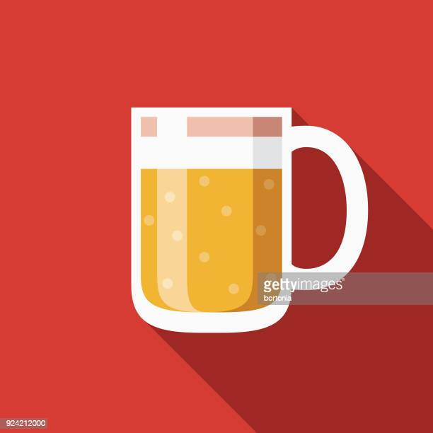 beer flat design canadian icon with side shadow - artisanal food and drink stock illustrations, clip art, cartoons, & icons