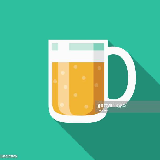 beer flat design usa icon with side shadow - lager stock illustrations, clip art, cartoons, & icons
