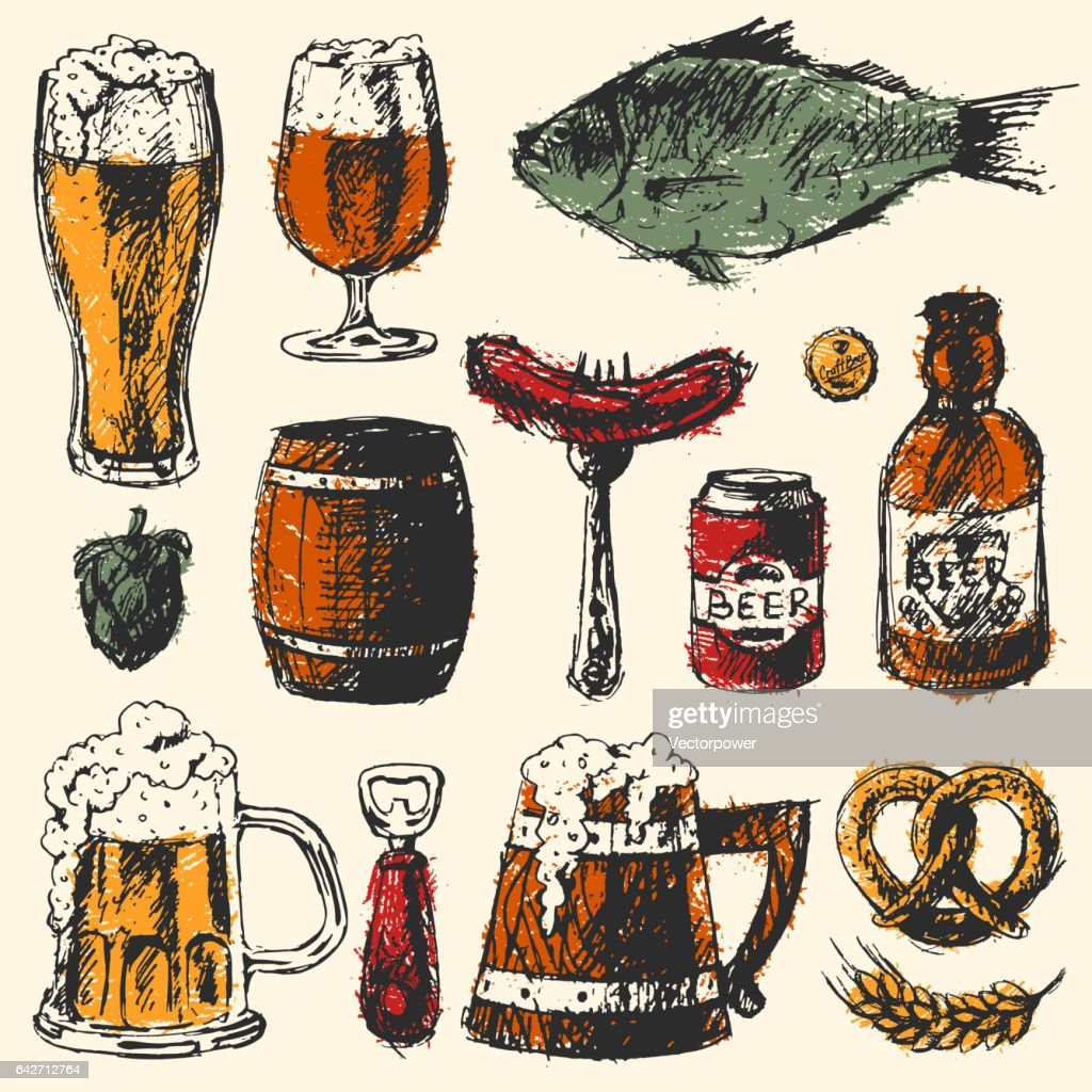 Beer food set with mug bottle wheat hop elements and hand drawing graphic objects used for advertising festival beverage brewery bar vector illustration