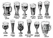 Beer glass and mugs types. Vector hand drawn vintage illustrations.