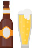 Beer glass bottle vector illustration.