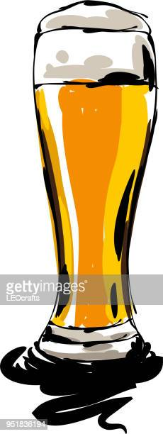 beer glass drawing - beer glass stock illustrations, clip art, cartoons, & icons