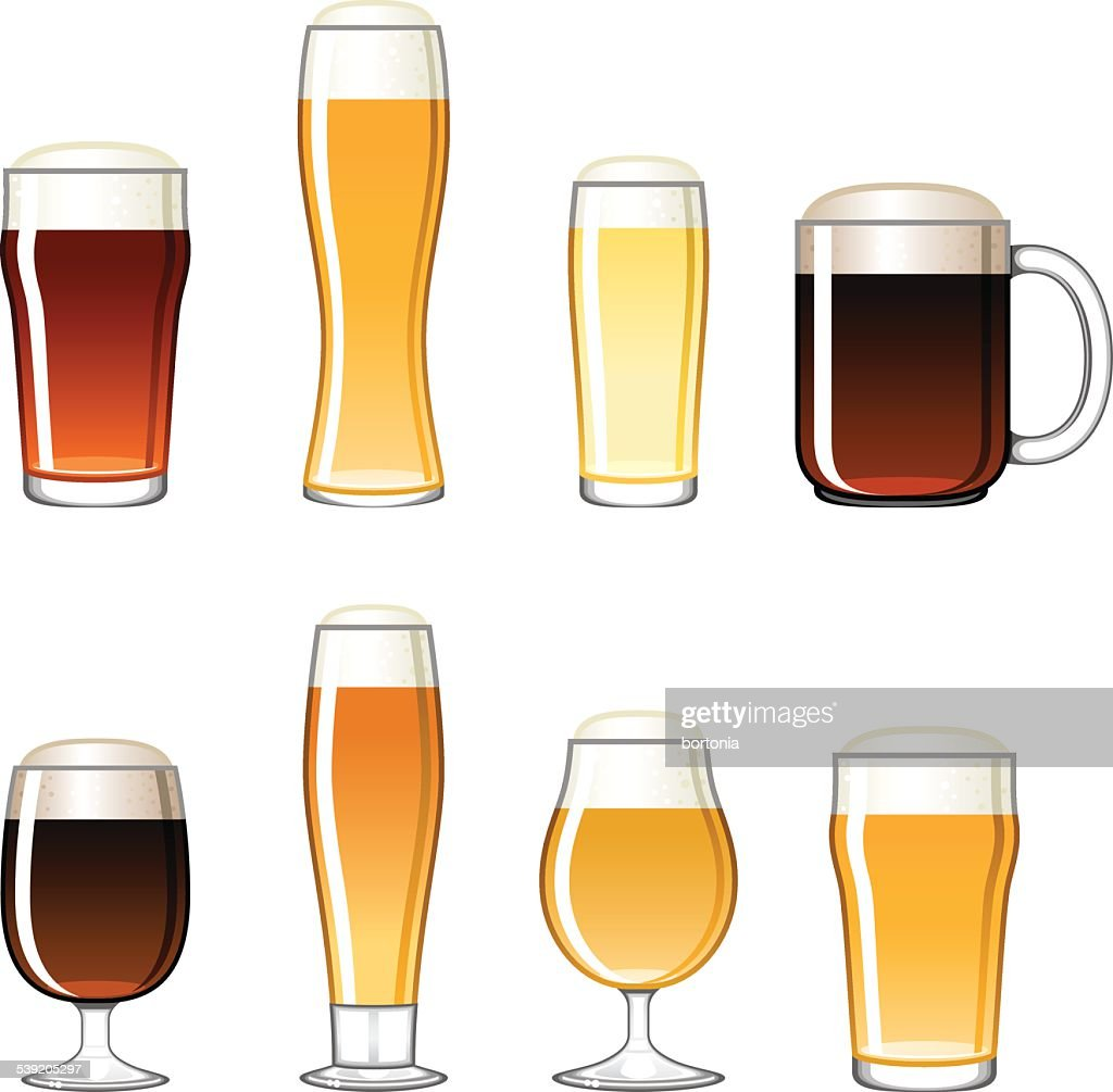 Beer Glass Icons Set : stock illustration