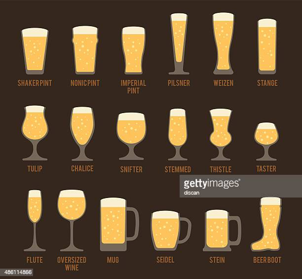 beer glass icons - lager stock illustrations, clip art, cartoons, & icons