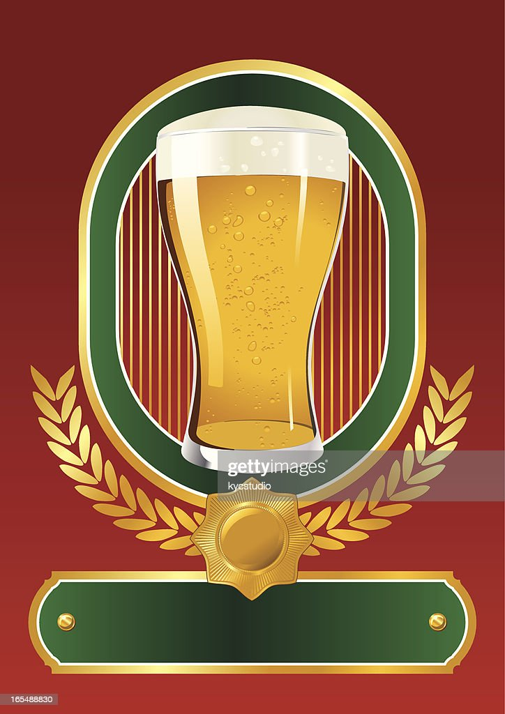 beer glass label : stock illustration