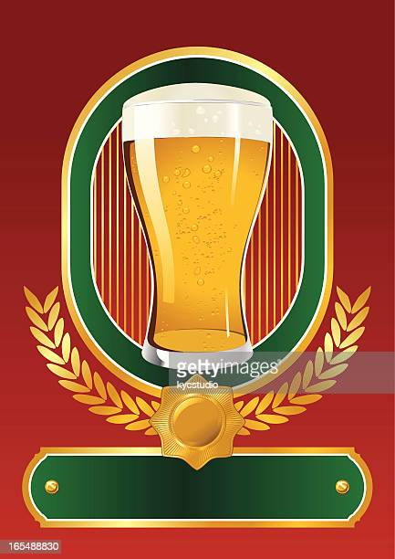 beer glass label - lager stock illustrations, clip art, cartoons, & icons