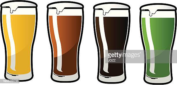 beer glass set - beer glass stock illustrations, clip art, cartoons, & icons