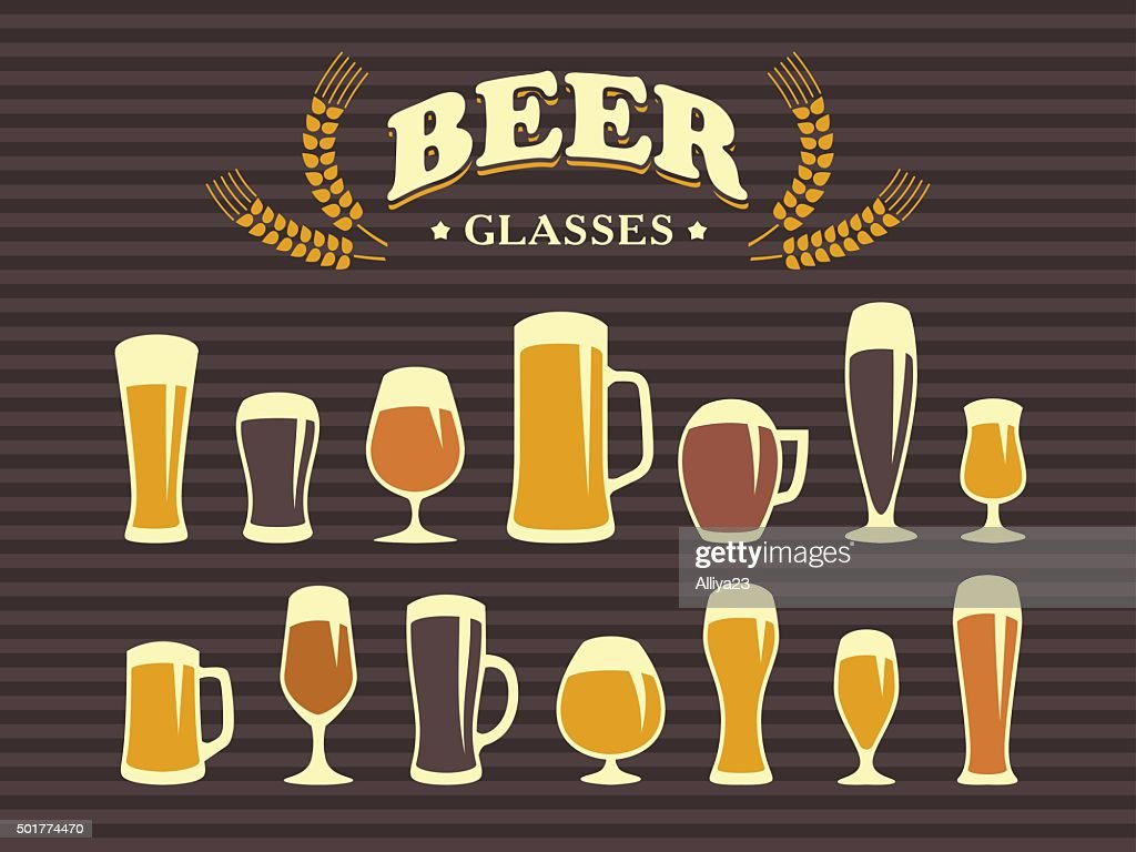 Beer Glasses And Mugs Stock Illustration Getty Images