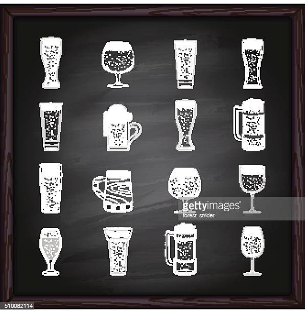 beer glasses icons on blackboard - beer glass stock illustrations, clip art, cartoons, & icons