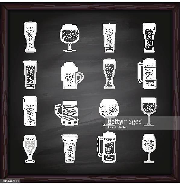 Beer glasses icons on blackboard