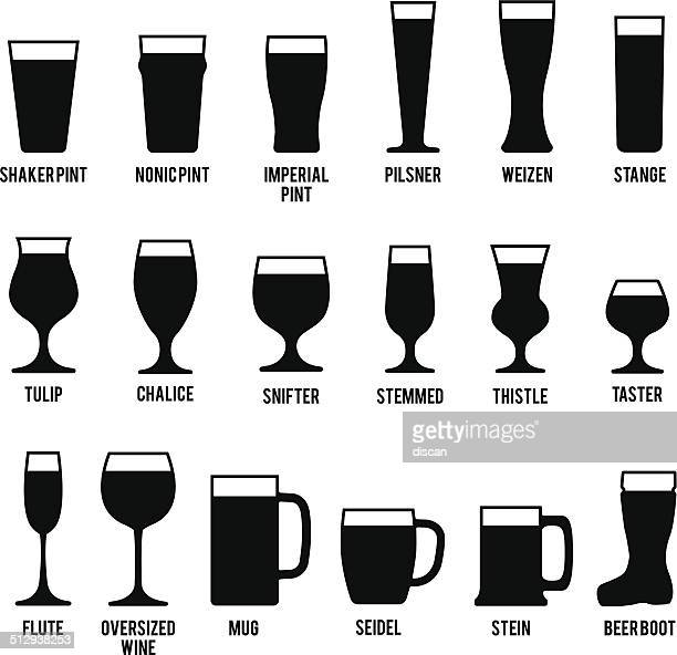 beer glasses icons set - pint glass stock illustrations