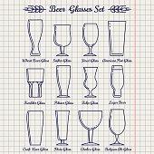 Beer glasses line icons set