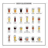Beer glassware guide, colored icons on white background. Vector