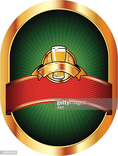 beer green label - lager stock illustrations, clip art, cartoons, & icons