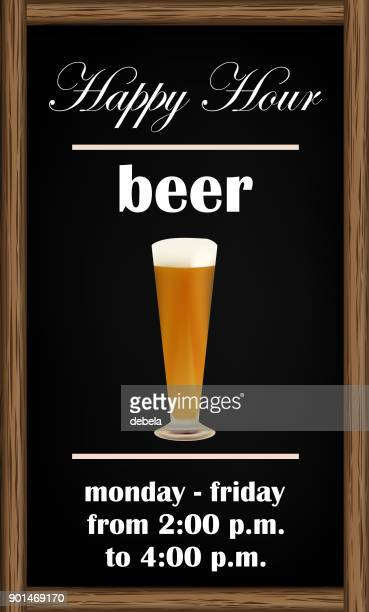 beer happy hour blackboard announcement - lager stock illustrations, clip art, cartoons, & icons