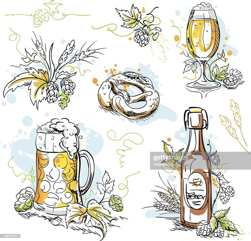 Beer Hop Pretzel Ink Drawings : stock illustration