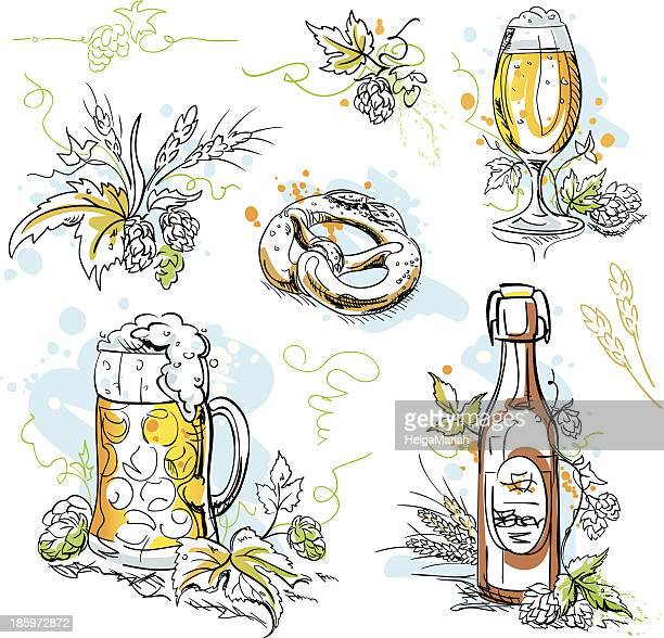beer hop pretzel ink drawings - lager stock illustrations, clip art, cartoons, & icons