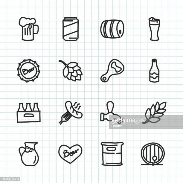 beer icon - hand drawn series - barley stock illustrations, clip art, cartoons, & icons