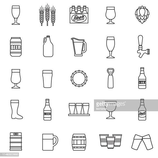 beer icon set - ale stock illustrations