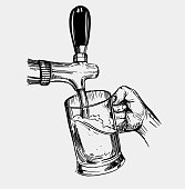 Beer is poured into a mug. Beer tap. Hand drawn illustration converted to vector