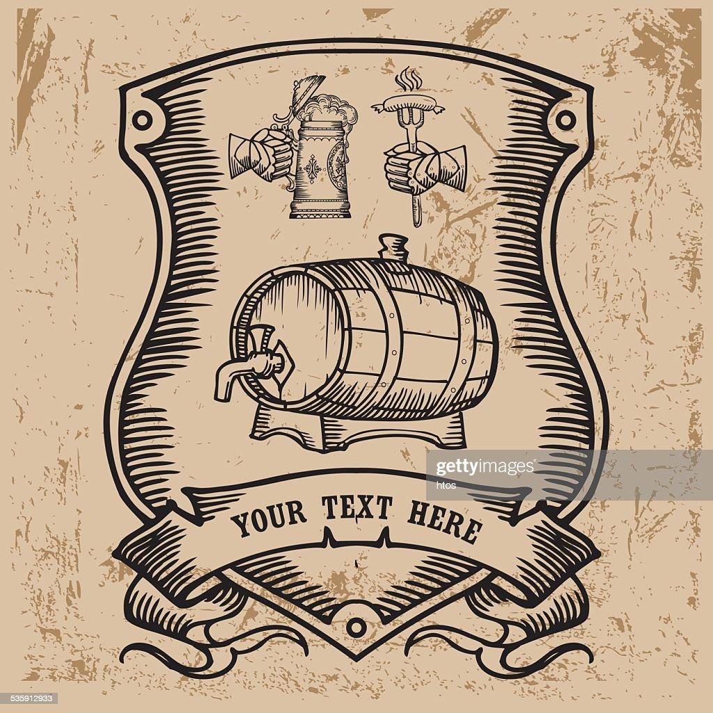 Cerveza diseño de etiqueta. : Arte vectorial