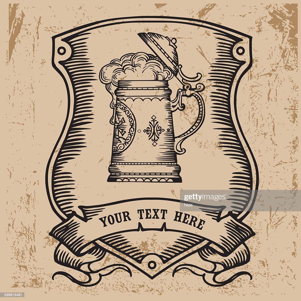 design de rótulo de cerveja. : Arte vetorial