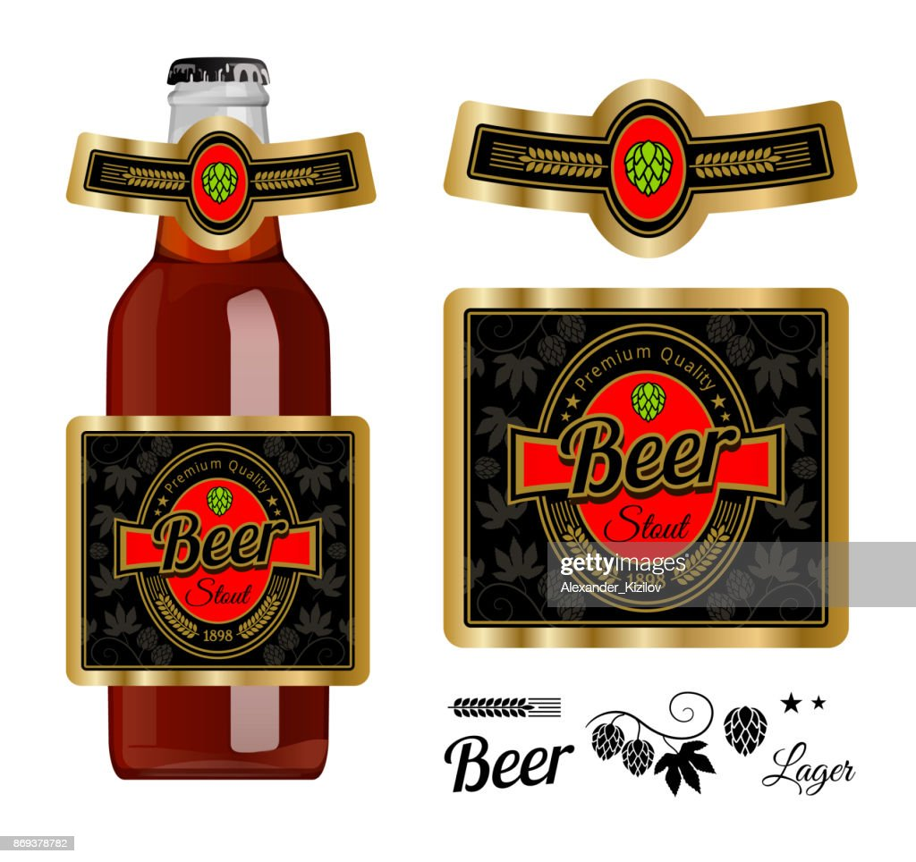 Beer Label Template With Neck Stout Vector Ilration Stock