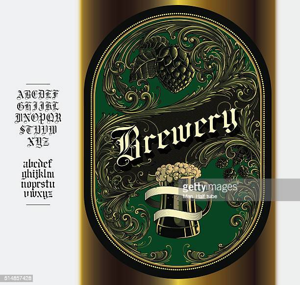 beer label - gothic style stock illustrations, clip art, cartoons, & icons
