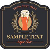 beer label with a glass