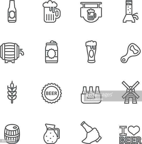 beer line icons   eps10 - brewery stock illustrations, clip art, cartoons, & icons