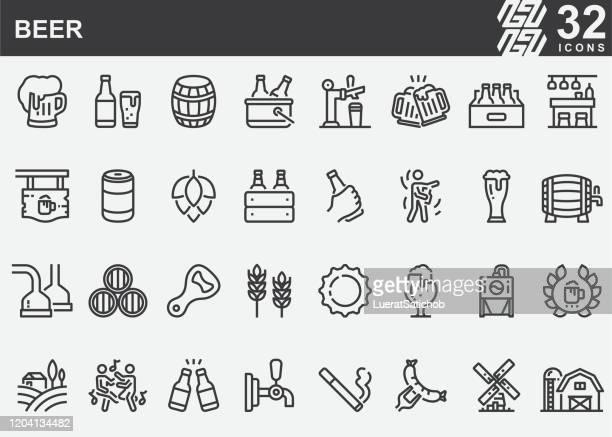 bierlinie icons - schachtel stock-grafiken, -clipart, -cartoons und -symbole