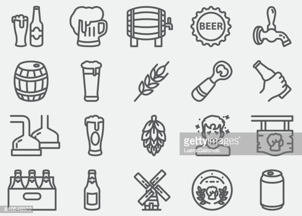beer line icons - beer alcohol stock illustrations, clip art, cartoons, & icons