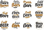 Beer logo. Vector labels and icons. Collection elements for menu