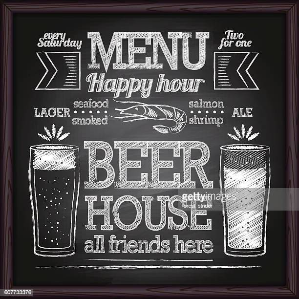 beer menu. chalk on a blackboard. - chalk art equipment stock illustrations, clip art, cartoons, & icons