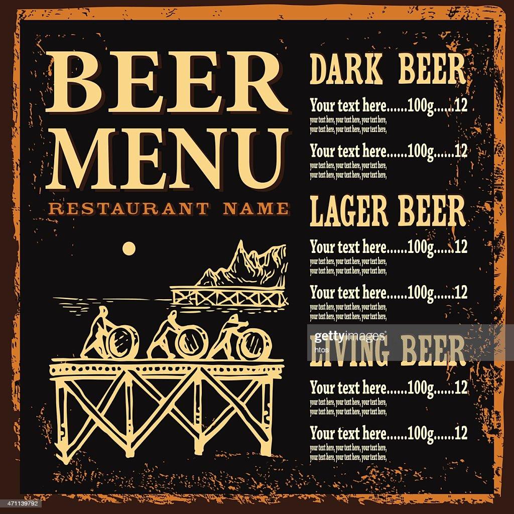 Beer menu on dark background.