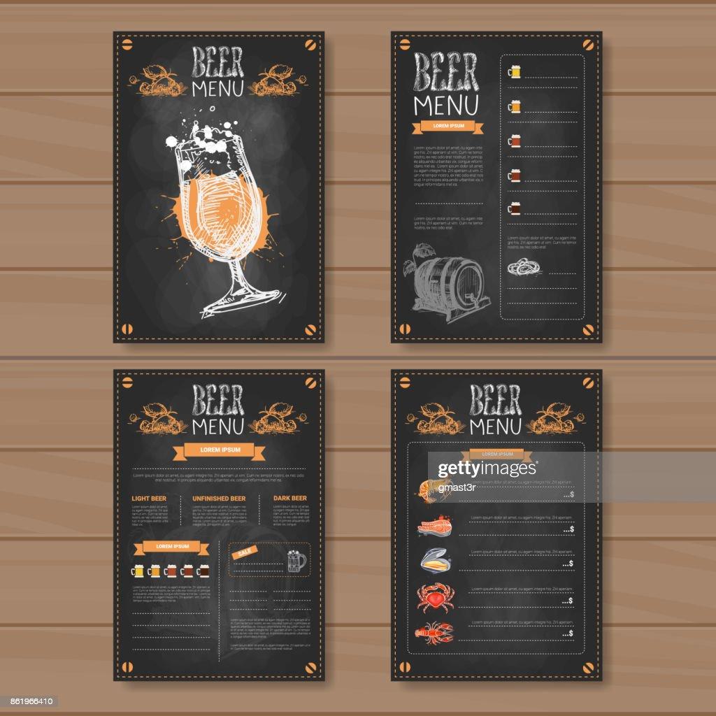Beer Menu Set Design For Restaurant Cafe Pub Chalked On Wooden Textured Background